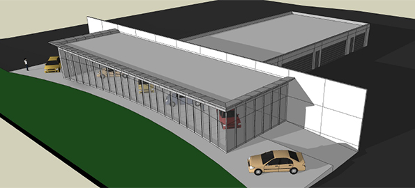 The newest version of the proposed new Lake Norman Hyundai dealership was designed by architect John Fryday. Rendering courtesy of the town of Cornelius