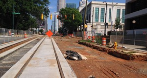 The first phase of the streetcar is set to open in March. The line will run from Novant Health Presbyterian Medical Center to the Charlotte Transit Center. Photo by Payton Guion.