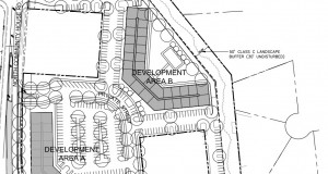 The Solis Ballantyne apartment complex would have two four-story buildings housing a total of 240 units. Courtesy of the city of Charlotte