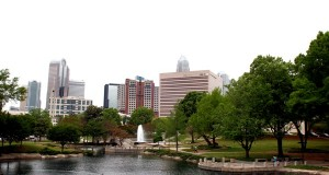 View of center city Charlotte from Marshall Park.