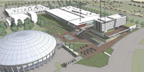 The city of Charlotte and GoodSports Enterprises are working out details for a proposed $77 million amateur sports complex near Bojangles Coliseum. Illustration courtesy GoodSports