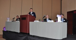 The Greater Charlotte Apartment Association held its annual Multifamily Forecast Breakfast at The Westin Charlotte on Friday morning, featuring panelists representing both public and private interests who talked about conditions and outlooks for multifamily development in Charlotte. The panelists, from left to right, were Jim Borders, president of Novare Group; Frank Warren, senior economist at design consultant firm Kimley-Horn;John Chesser, senior analyst with the UNC Charlotte Urban Institute; and Ed McKinney, Charlotte-Mecklenburg interim planning director. Photo by Eric Dinkins
