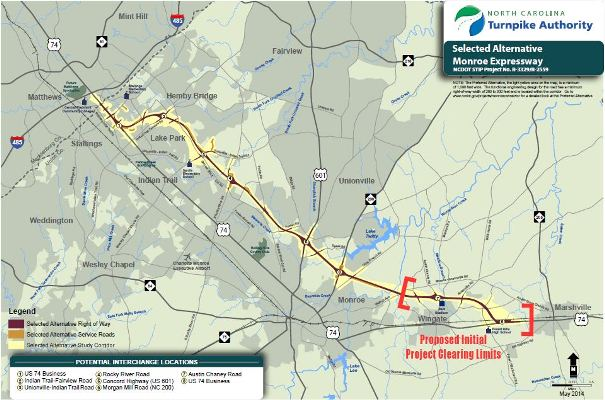 The Monroe Bypass would run roughly parallel to U.S. 74 from near Interstate 485 to Wingate, providing a high-speed alternative tothe congested U.S. 74 in Monroe.