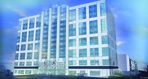 Stream Realty Partners plans extensive renovations (as seen in rendering) to the façade of the former AT&T building on South Brevard Street.  Photo courtesy of Stream Realty Partners