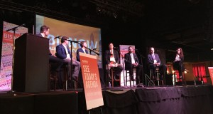 Members of the real estate community last week lauded gains in local commercial development and said Charlotte holds more promise going forward. But, in a panel discussion, they also urged caution, given warning signs in the domestic and international economies. The forum was held at the Fillmore Theater in Charlotte and hosted by Bisnow, a digital media company. Photo by David Dykes