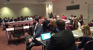 The Charlotte City Council's dinner meeting, held before its regular meeting, was full Monday as supporters of the city's nondiscrimination ordinance turned out expecting discussion of the economic impact of HB2. Photo by David Dykes