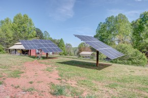 """Joe Bowling installed three large solar panels to provide electricity at his newly constructed """"hybrid"""" house in Bessemer City. Photo courtesy of Mike Stricklin"""