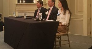 CREW panelists for their October meeting included  Chris Daly of Childress Klein, Brendan Pierce of Keith Corp. and Kristy Venning of Beacon Partners. Photo by Scott Baughman