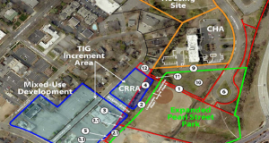 Mecklenburg County on Tuesday approved several land exchanges off Kenilworth Avenue, bottom, that will allow the redevelopment of several tracts of land, including a connection between Kenilworth and Baxter Street, right.