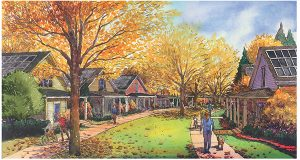 This artist rendering shows the proposed streetscape of the Cramerton Mills neighborhood, under construction by Green Street Cottages in Gaston County. Rendering courtesy Green Street Cottages