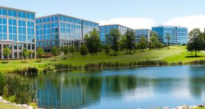 Ballantyne Corporate Park includes 36 office buildings, four hotels, two restaurants and land entitled for additional office, hotel and multifamily developments. Image courtesy Northwood Investors.