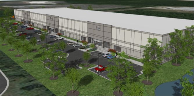 The building will feature 32-foot clear height and 210-foot depth. The rear-load building will include enhanced architecture, motion-sensor LED lighting and ample parking. Tenants will have easy access to I-485 and I-77. Photo courtesy Liberty Property Trust