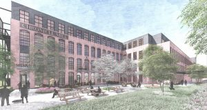 Originally built in 1901, Chronicle Mill was Belmont's first textile mill and continued operations until 2010. The adaptive reuse project will include the redevelopment of the existing building into luxury apartments, retail and amenity space. A new five-story apartment building will also be built on the seven-acre site. Illustration courtesy Armada Hoffler Properties